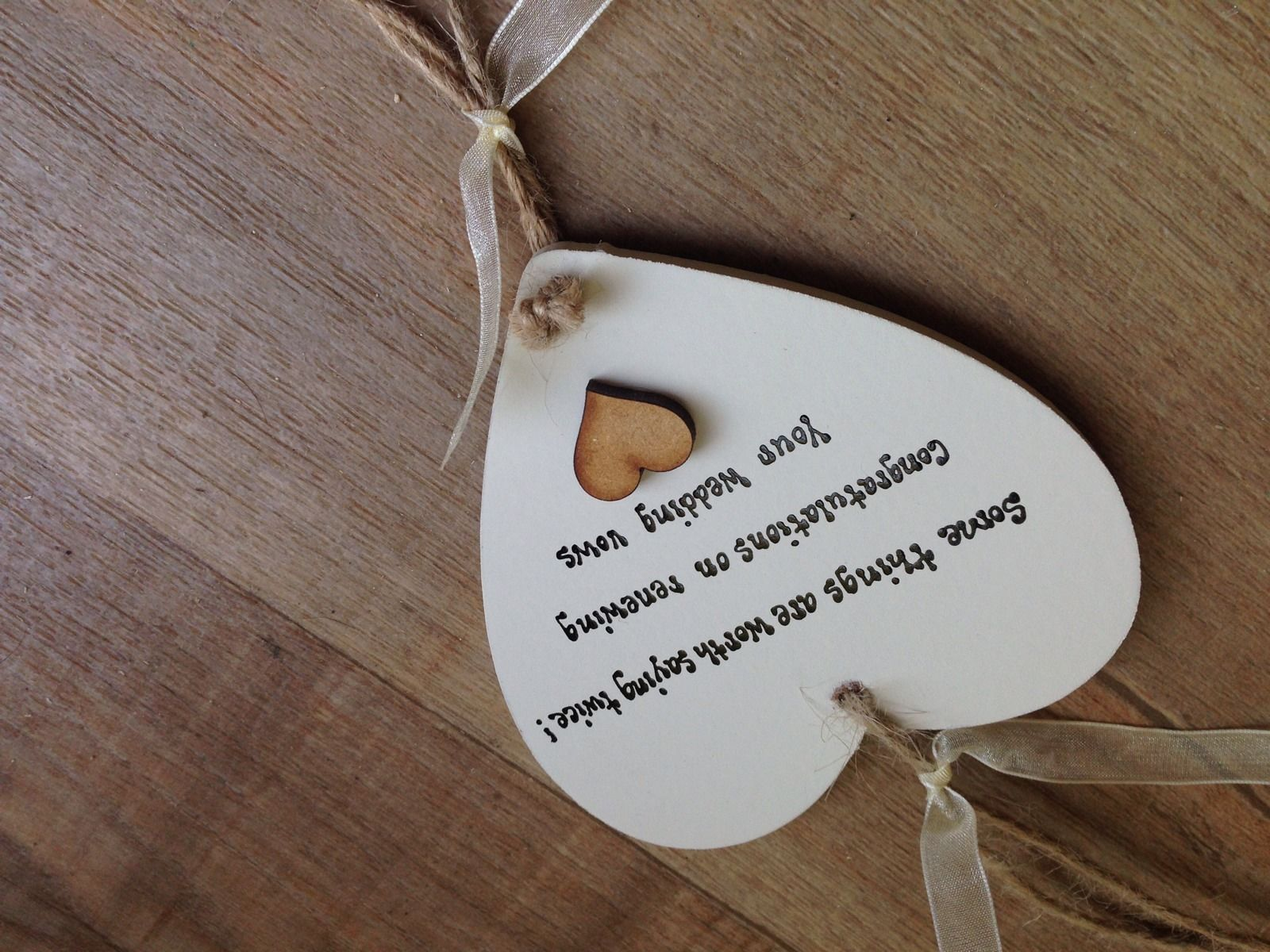 Wedding Vow Gifts: Shabby Personalised Gift Chic Heart Plaque Renewing